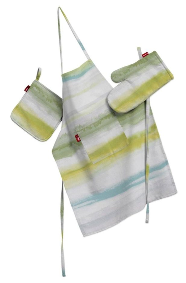 Dekoria.pl, komplet kuchenny - fartuch, rękawica i łapacz, kolekcja tkanin Aquarelle