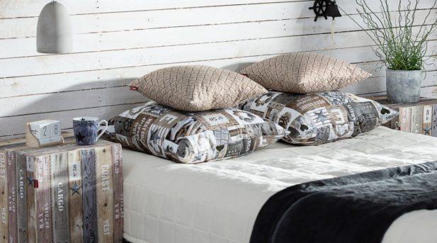 Dekoria.pl, narzuta pikowana w kratę, kolekcja tkanin Loneta, poszewki Kinga na poduszkę, kolekcja tkanin Marina, pufa kostka twarda, kolekcja tkanin Marina