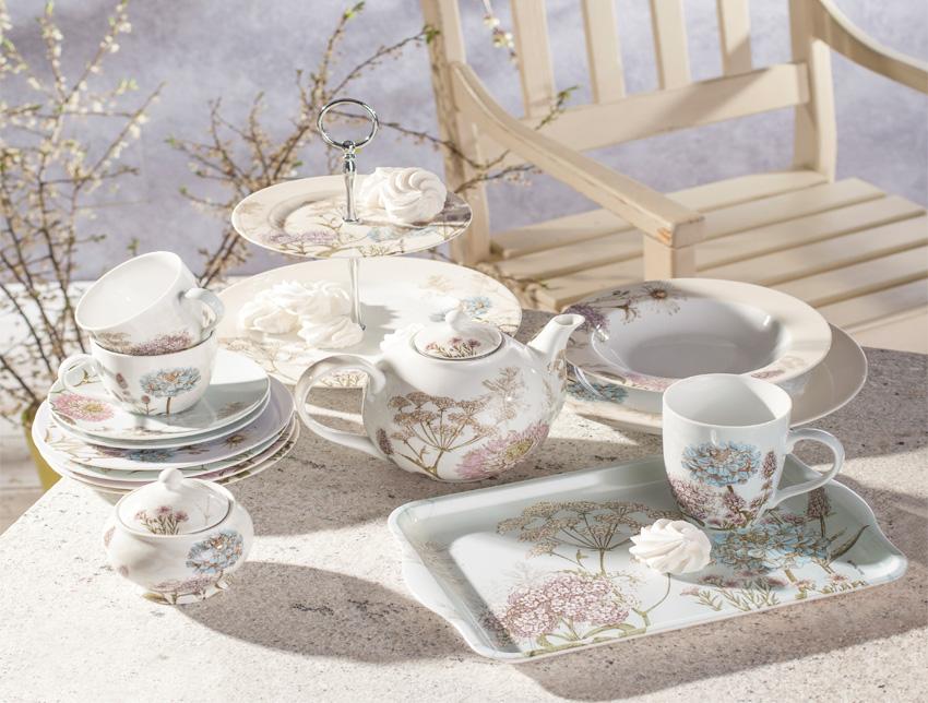 porcelana i ceramika z motywem roślinnym , polne kwiaty, kwiatowe wzory