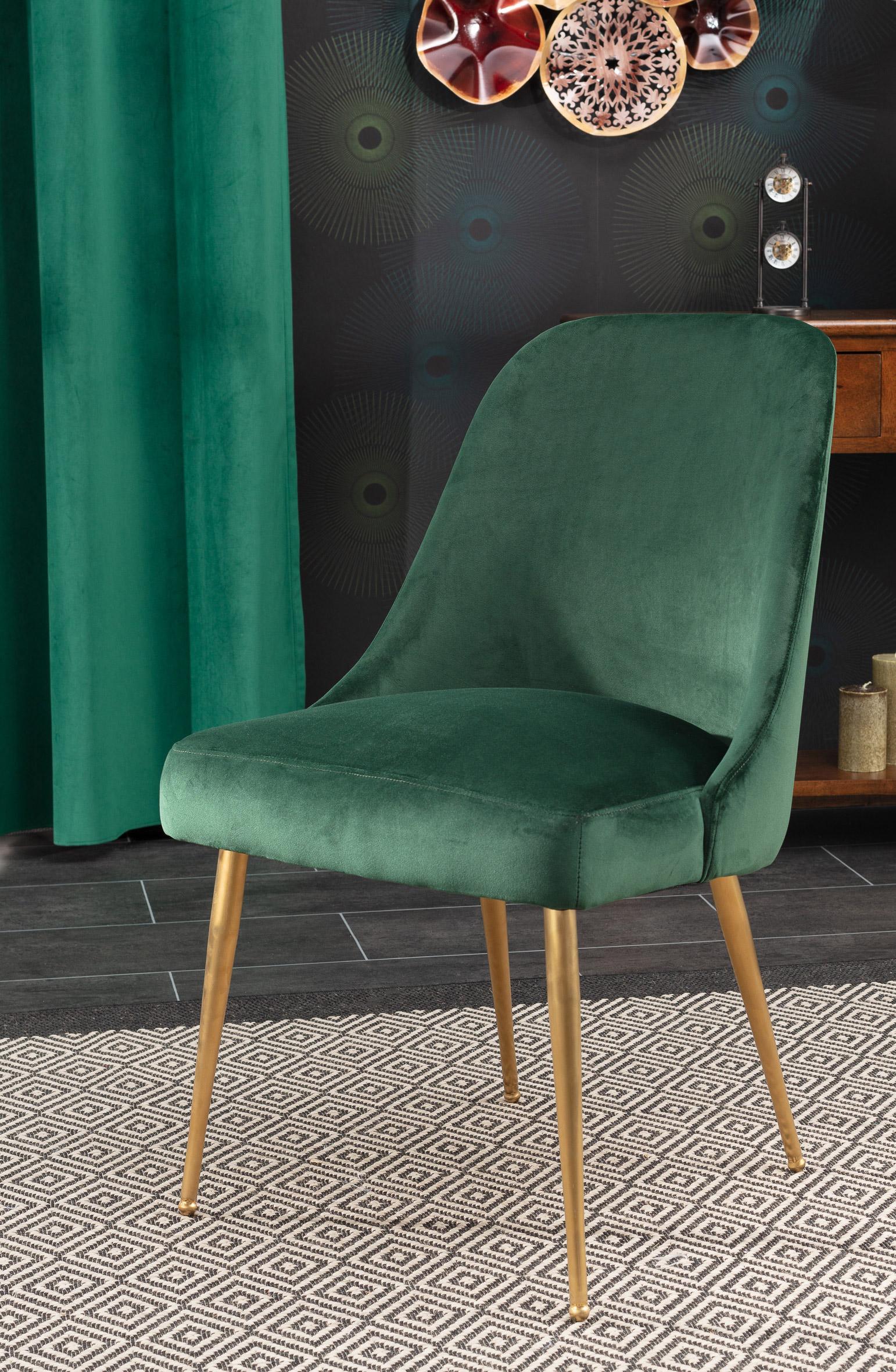 Stuhl aus Samt grün gold