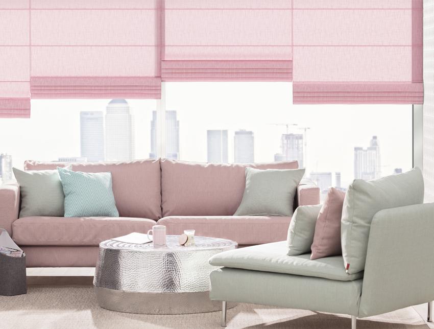 pastele w salonie, salon w pastelach, pastelowe wnętrza, pastelowy róż
