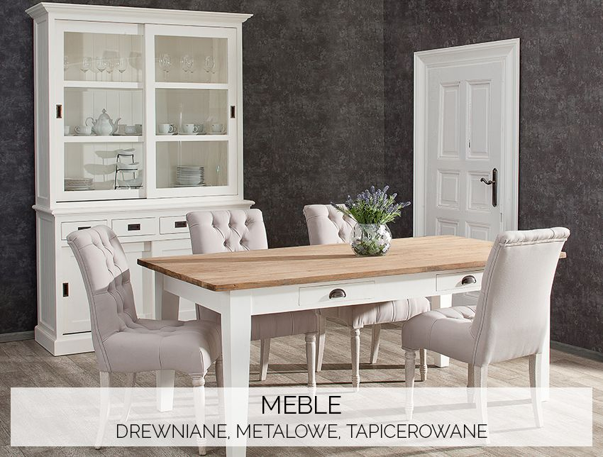 Meble drewniane, metalowe, tapicerowane